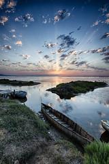 Delta del Ebro (magomu) Tags: reflection clouds sunrise dawn pier boat barca delta amanecer nubes reflejo embarcadero ebro ebre humedal deltadelebro
