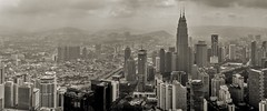 The Kuala Lumpur skyline (zoomleeuwtje) Tags: kuala lumpur skyline tower petronas towers malaysia blackandwhite