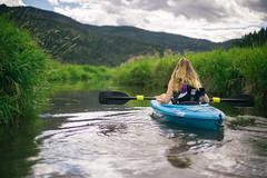 Kayaking Deep Lake, WA (JeffAmantea) Tags: paddle kayak usa us wa washington creek lake deep pnw nw america girl pretty landscape water grass green clouds mountain sony a7ii nikkor 50mm f14 explore adventure cows poo