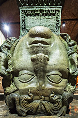 Medusa haed in The Basilica Cistern. Istanbul (chrisdingsdale) Tags: antique asianculture basilicacistern column dark east eastasia history indoors istanbul light medusa middleeast museum palace roman storagetank sultanahmet tourism travellocations turkey underground ancient old ottoman statue turkishculture