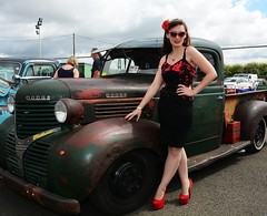 Holly_7259 (Fast an' Bulbous) Tags: classic american hotrod custom car automobile vehicle outdoor people girl woman hot sexy chick babe hotty skirt dress seamed stockings high heels silk stilettos shoes red long brunette hair