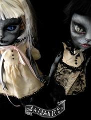 Olivia & Sophie (saijanide) Tags: cats girl monster cat grey outfit high eyes doll artist dolls ooak custom mattel redress repaint faceup werecat werecats