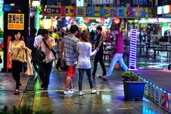 Yizhong Street  in rainy night .  Taiwan Taichung city.  . HDR .   DSC_2170 (Ming - chun ( very busy )) Tags: road street travel evening nikon taiwan 85mm streetscene nightscene nikkor f18           streetshot      traveltaiwan d600  85mmf18      streetsnap streetscence  f1885mm  nikon85mmf18   taichungcity      refugiodelanaranjera