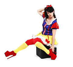 Snow White and the 7inch heels (Szmytke) Tags: red socks fetish scotland model dress tights heels tall snowwhite pinup petite dara pvc 7inch kneehigh