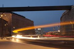 Le bus vient de passer... (Philis.Nat) Tags: france bus saint automne marseille novembre jean fort lumire du rhne route provence soir lente nuit phare vitesse passerelle bouches mucem