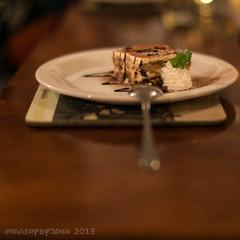 Tiramisu not sat on the bench for long (Rusty Marvin - JohnWoracker.com) Tags: food cake table italian place pudding plate spoon mat tiramisu fooding