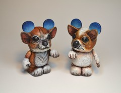 Shoeina and Panchito (Jared Circusbear) Tags: urban dog chihuahua art puppy toy mouse handmade disneyland painted vinyl disney mickey kidrobot plastic disneyworld actionfigures figure collectible custom figurine dunny funko circusbear munny vinylmation munnyworld