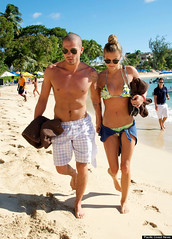 109473PCN_Beach (johnnyjuarez) Tags: sea celebrity beach boat girlfriend couple famous bald pictured bikini barbados spotted seen aviators boyshorts wayfarers bandmember thewanted danishfashionmodel