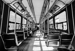 Toronto Streetcar (alistaircassidy) Tags: travel bw toronto bus window monochrome contrast nikon ttc tram symmetry tokina journey lonely passenger publictransport streetcar asymmetry d5100