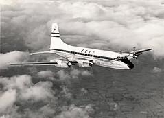 BOAC Britannia 102 G-ANBA in flight 1954 (Proplinerman) Tags: bristol aircraft 1954 airliner britannia boac propliner ganba bristol175