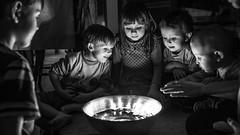 small boat (I.Dostál) Tags: family light portrait black smile children boat candle group tradition enthusiasm absorption