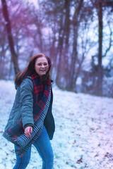 First snow (Vanessa vW) Tags: winter woman snow girl laughing fun happy dance december photoshoot dancing laugh
