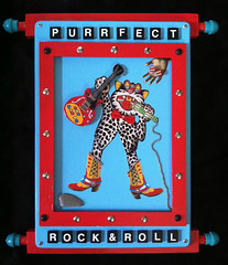 Purrfect Rock & Roll (S.T.A.R.) Tags: rock cat wooden colorful dancing recycled assemblage roll purrfect