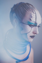 Edge of Now (Natalie Pluck) Tags: blue beauty fashion canon 50mm guard edge future scifi editorial 5d cyborg now couture avant cyber f12 mk3 cortana