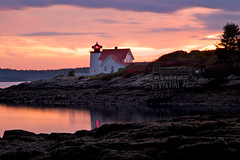 Lead Me On (SunnyDazzled) Tags: ocean longexposure light sunset red lighthouse reflection station clouds evening bay coast harbor pier colorful maine hendrickshead