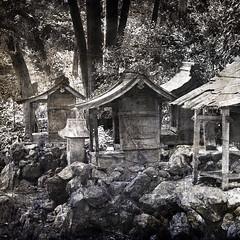 Shrines (Seeing Visions) Tags: wood trees texture japan stone forest square religious carved kyoto rocks shrine religion jp weathered lantern disrepair 2014 kurodani raymondfujioka