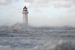Perch Rock lighthouse (pentlandpirate) Tags: storm wave gale spray mersey wirral newbrighton perchrocklighthouse