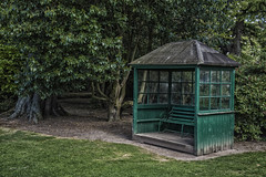 Peaceful contemplation (C WAL) Tags: trees colour green bench private quiet seat covered rest contemplative secluded