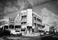 DR1-E007 (David Swift Photography Thanks for 16 million view) Tags: film philadelphia architecture 35mm cityscape cities storefronts ilfordxp2 streetscapes southphilly yashicat4 davidswiftphotography