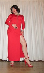long red dress with red sandals (Barb78ara) Tags: highheels dress sandals heels stilettoheels pantyhose nylon reddress anklet paintednails redsandals longdress paintedtoes lrd strappyheels longreddress