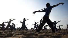 @ Marina beach (Kals Pics) Tags: india tamilnadu chennai girls kids boys silambam action moment morning cwc chennaiweelendclickers roi rootsofindia street marinabeach sport martialart silhouette singarachennai kalspics