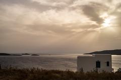 Aegean sunset (kazste17) Tags: sunset sea sun sunlight white house clouds landscape island view aegean calm greece andros