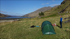 DAY 2: Loch Nevis from Sourlies camp (5/16 an022) (Ted and Jen) Tags: knoydart sourlies camp lochnevis tgoc scotland greatoutdoorchallenge