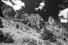 Oregon Rocks (Tom Fenske Photography) Tags: sky blackandwhite bw nature oregon outdoors day desert bend wilderness smithrock