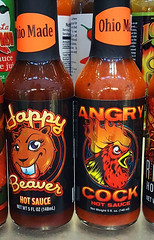 happy beaver and angry cock hot sauce (Tim Evanson) Tags: cleveland clevelandohio hotsauce westsidemarket happybeaverhotsauce angrycockhotsauce