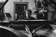 Matt Baker, jazz pianist and composer, at Sear Sound Recording, NYC, July 2015, #010 (Matt Meador Photography) Tags: mattbaker jazz piano pianist composer blackandwhite bw monochrome searsound musician recording nyc