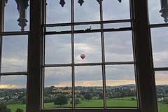 Through the Square Window. (MWBee) Tags: window squarewindow sashwindow coutryside rossonwye herefordshire theroyalhotel balloon agfa hotairballoon clouds sky sunshine view