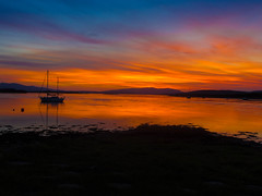 The Orange Sky (RS400) Tags: sky sun set wow cool amazing wicked dark night time boat sea water blue edit olympus scotland uk