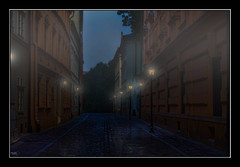 Early Morning Krakow (Kevin, (Away 21 Oct / 9 Nov) Traveling) Tags: architecture canon1855mm hdr historical kevinwalker krakow medieval poland street lamps fog