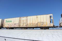 Ronin, Seka, Xyz (NJphotograffer) Tags: graffiti graff trackside track railroad rail art freight train bench benching reefer refrigerated car tropicana ronin seka xyz