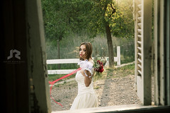 Bride 5 (Javier A. Rodrguez) Tags: window ventana wedding boda novia bride dress vestido model modelo wind viento bouquet ramo flores flowers