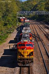 "Westbound Transfer in Kansas City, KS (""Righteous"" Grant G.) Tags: kcs kansas city southern lines west westbound transfer freight bnsf atsf santa fe manifest railroad railway ge emd power"