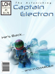 The Astonishing Captain Electron #1 (jgg3210) Tags: lego leagueofheroes loh comic comicbook captain electron superhero indestructible man silver sentry viridia minifigure minifigures moc cover