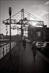 Old cranes at Brussels canal (Johannes Wachter) Tags: brussels bruxelles roller kanal brssel brussel kran gegenlicht belgien