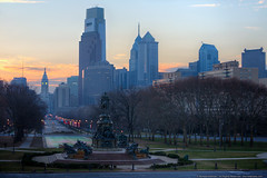 Good Morning, Philadelphia (mhoffman1) Tags: morning urban philadelphia statue dawn skyscrapers unitedstates pennsylvania centercity cityhall flags parkway philly washingtonmonument georgewashington deserted benfranklinparkway comcastcenter eakinsoval sonyalpha a7r