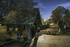 Lych Gate (alun.disley@ntlworld.com) Tags: longexposure trees christchurch building church monument nature cemetery architecture night shadows headstone religion wirral merseyside lychgate portsunlight