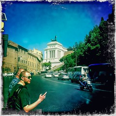 Roma 19 (soilse) Tags: road city travel italy holiday rome roma cars archaeology buses sunshine weather statue museum europe italia traffic roman churches bluesky oldbuildings scooter squareformat pedestrians digitalcamera visiting nationalmuseum iphone 2014 brightsunshine twomen museonazionale iphonephoto iphonecamera iphoneapp viadelteatrodimarcello iphoneography hipstamatic hipstamaticapp hipstamaticcamera september2014