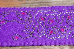 embroidered felt cuff 'purple' [#9] close-up (Studio Paars) Tags: b red floral vintage studio grey vines purple need