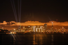 San Fransisco Skyline On a Cloudy Day (Vijay Mahalingam) Tags: sf california usa west reflection water skyline architecture night canon buildings lights san slowshutter nightview christmaseve westcoast fransisco sanfransisco nofilter t3i 18135