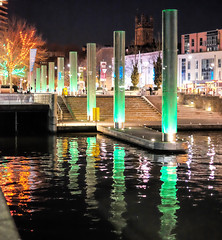 Columns of Light (canong2fan) Tags: christmas uk england green water docks reflections bristol geotagged fuji cathedral columns 2014 xe2 fujinonxf35mmf14
