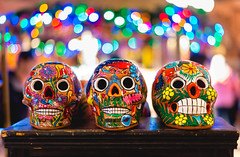 Ceramic Skulls (Gentilcore) Tags: ceramic skulls mexico epcot bokeh painted waltdisneyworld
