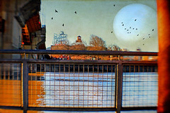 the moon illusion (1crzqbn) Tags: lensbaby color fence moon birds blur pdx burnsidebridge whitestagsign textures sunlight shadows reflections willametteriver 7d 1crzqbn themoonillusion