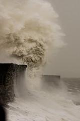 porthcawl lighthouse warm version (Pentax Gareth) Tags: ocean light sea lighthouse seascape water big waves power pentax huge 70300mm landscpae tamron crashing k5 porthcawl