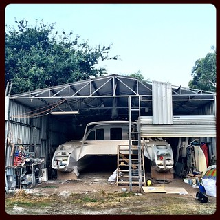 021/365 • front of the shed - OFF! - tomorrow will be crazy amazing - the boat is coming out of the dusty goddamn shed after over seven years gestation. There will be more work to do, but this is a BIG deal • #021_2015 #shed #catamaran #boatbuilding #prog
