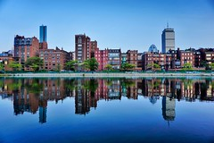 Back Bay Brownstones ((Jessica)) Tags: reflection water boston architecture buildings reflections dusk massachusetts newengland lagoon symmetry esplanade backbay brownstones pw storrowdrive
