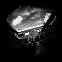 El Ermitaño (Josu Sein) Tags: urban blackandwhite monochrome mystery analog landscape holga gothic fisheye expressionism euskadi donostia gipuzkoa surealism